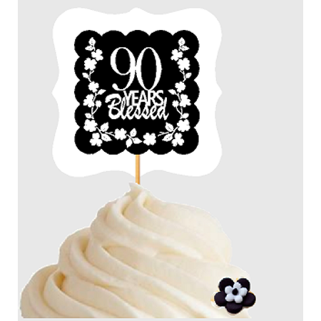 90th Birthday / Anniversary Blessed Cupcake Decoration Toppers Picks -12ct](Happy 90th Birthday Decorations)