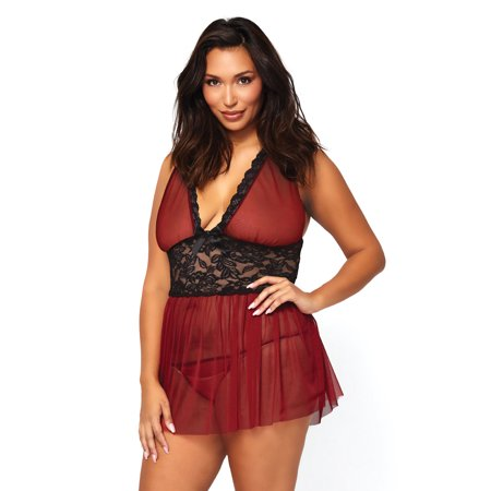 Women's Sheer Halter Babydoll with Floral Lace Empire Waist and Matching G-String, Burgundy,