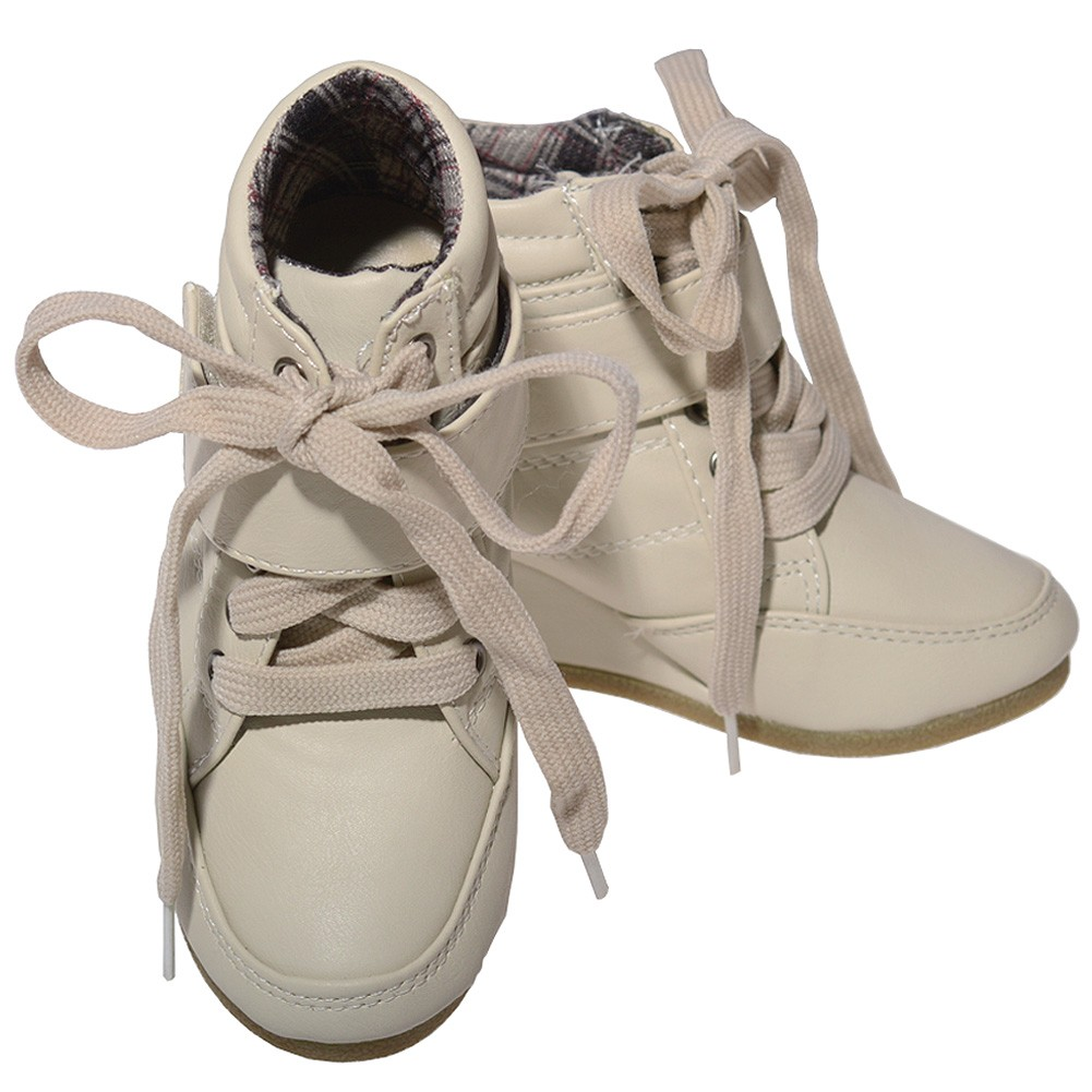 Beige Lace Up Wedge Heel Strap Mid Ankle Boots Little Girls 11-4