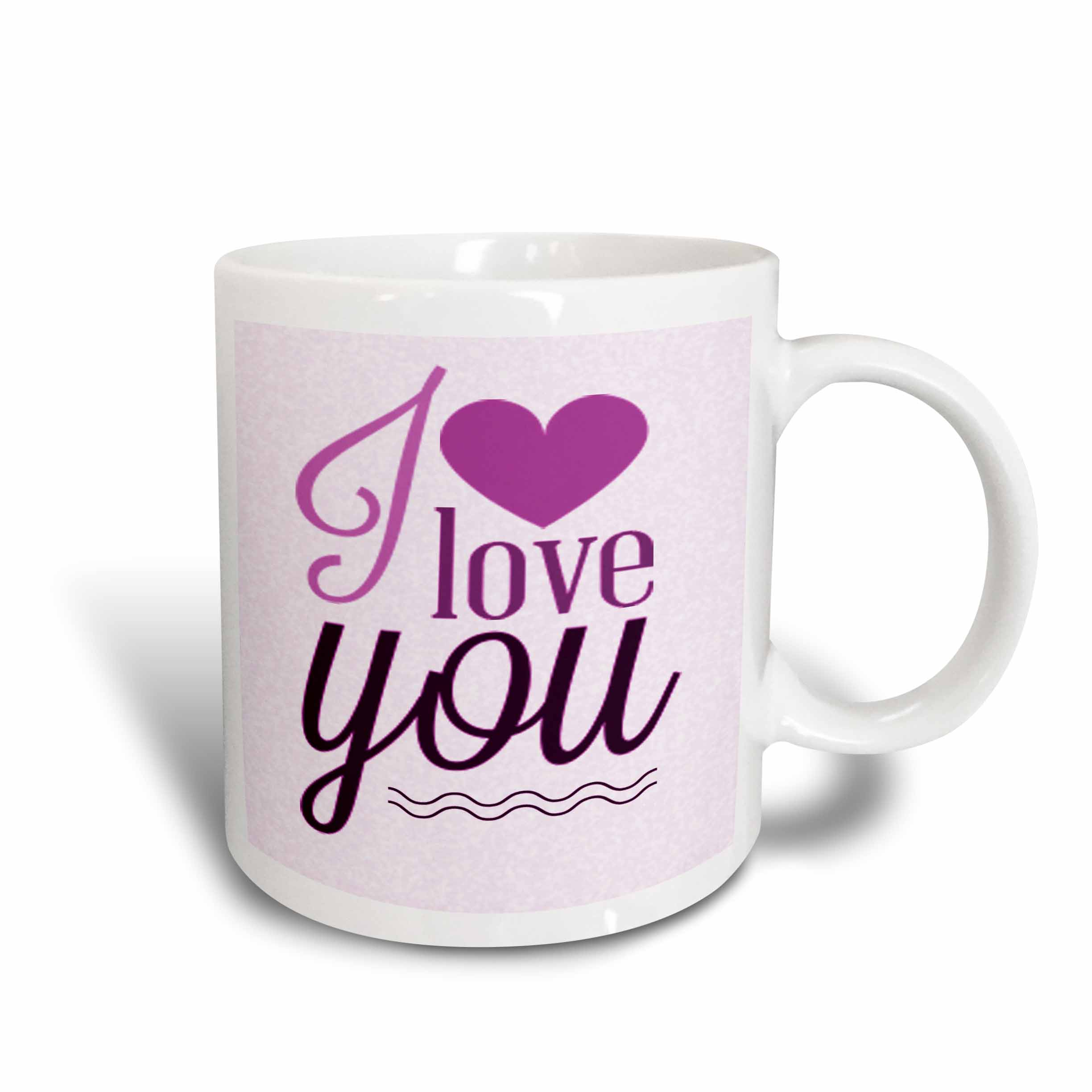 3dRose I Love You In Purple With A Heart, Ceramic Mug, 15-ounce