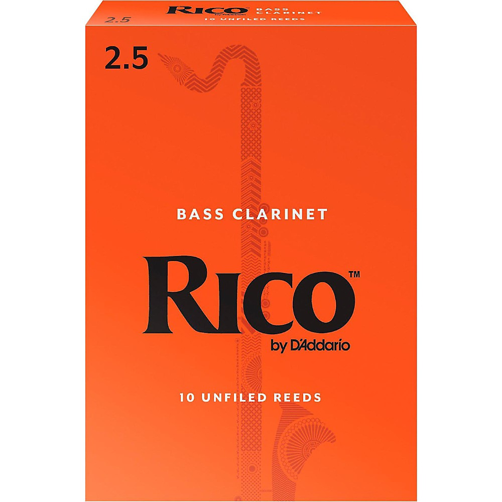 Rico Bass Clarinet Reeds, Box of 10 Strength 2.5 by Rico