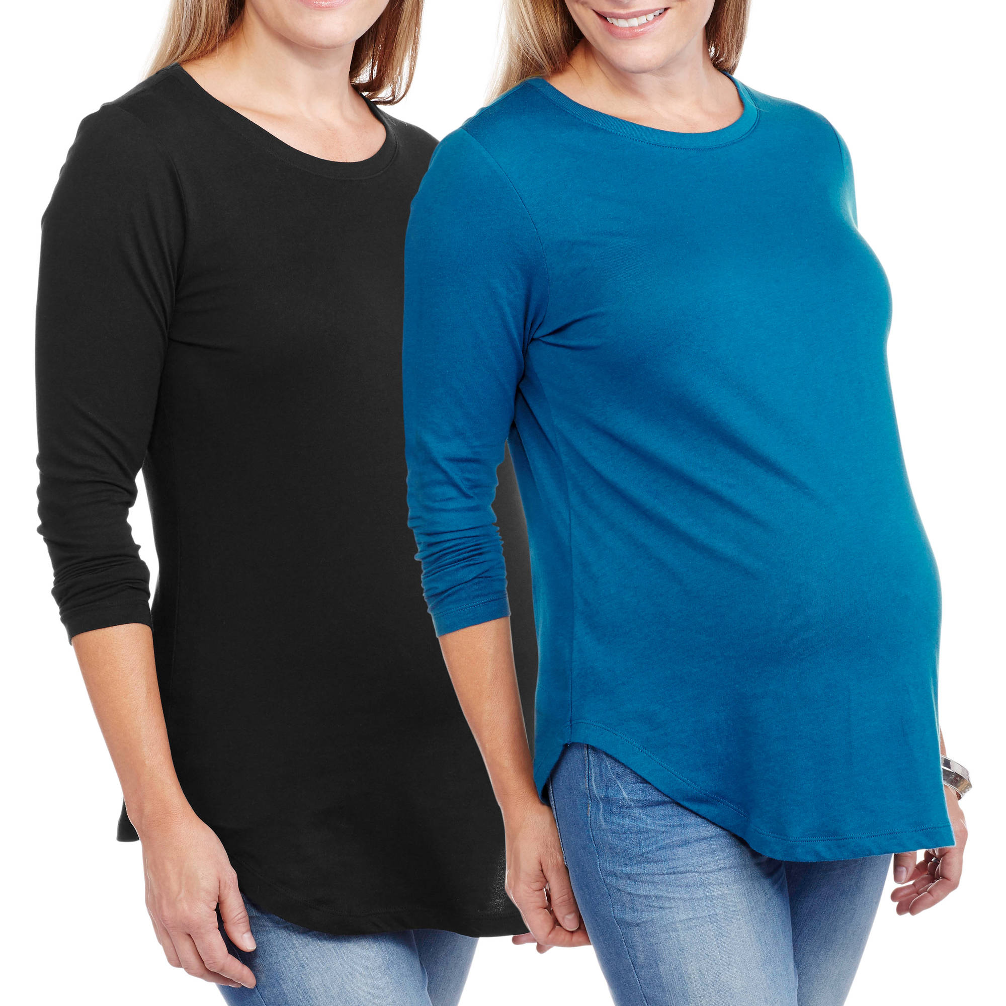 Faded Glory Maternity Long Sleeve Crew Neck Tee, 2-Pack