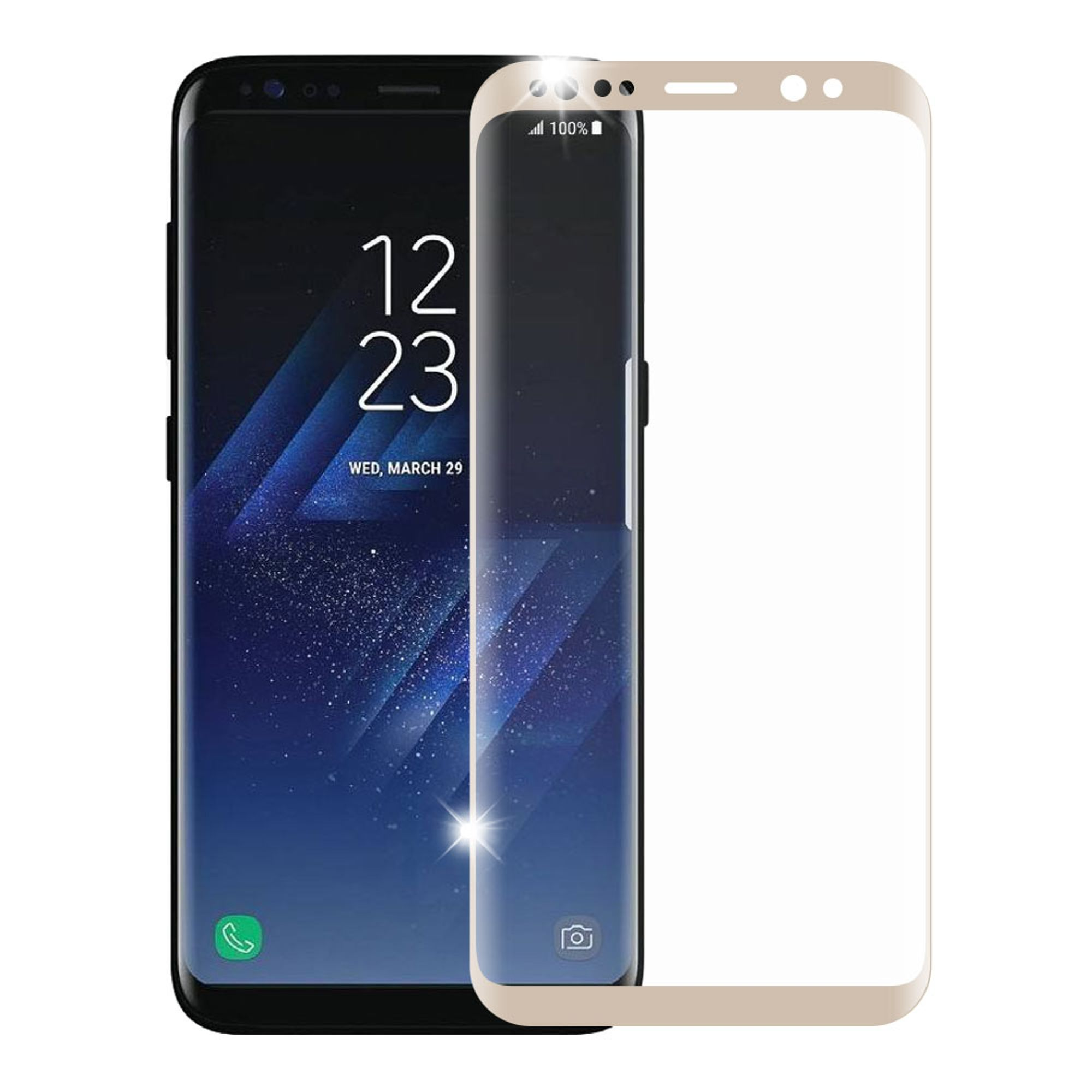 Samsung Galaxy S8 Screen Protector, by Insten Full Coverage Tempered Glass Screen Protector For Samsung Galaxy S8