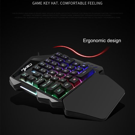 Single Gang Backlit Keypad - Outtop K13 Wired 35 Keys LED Backlit Usb Ergonomic Single Hand Keypad Gaming Keyboard