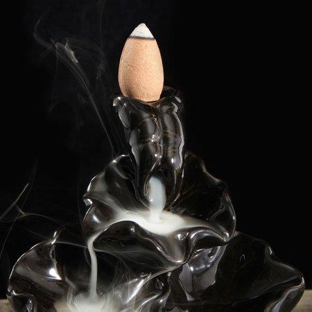 2-style Backflow Incense Burner Holder Handmade Black Porcelain Ceramic Glaze Feng Shui Buddhist Censer + 10 Free Cones Home Decor  - image 1 de 5