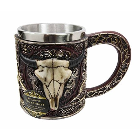 Figurine Mug (Atlantic Collectibles Wild Bison Steer Skull Maroon Resin 14oz Mug With Stainless Steel Rim Figurine)