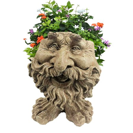 Image of Homestyles Stone Wash Ole Salty the Muggly Face Humorous Statue Planter Pot
