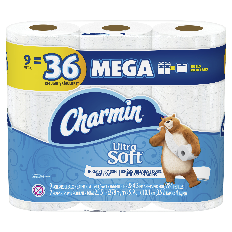 Charmin Ultra Soft Toilet Paper, 9 Mega Rolls