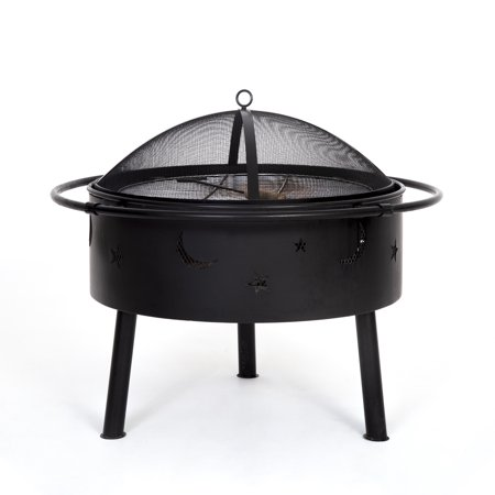 Star and Moon Steel Wood Burning Round Fire Pit