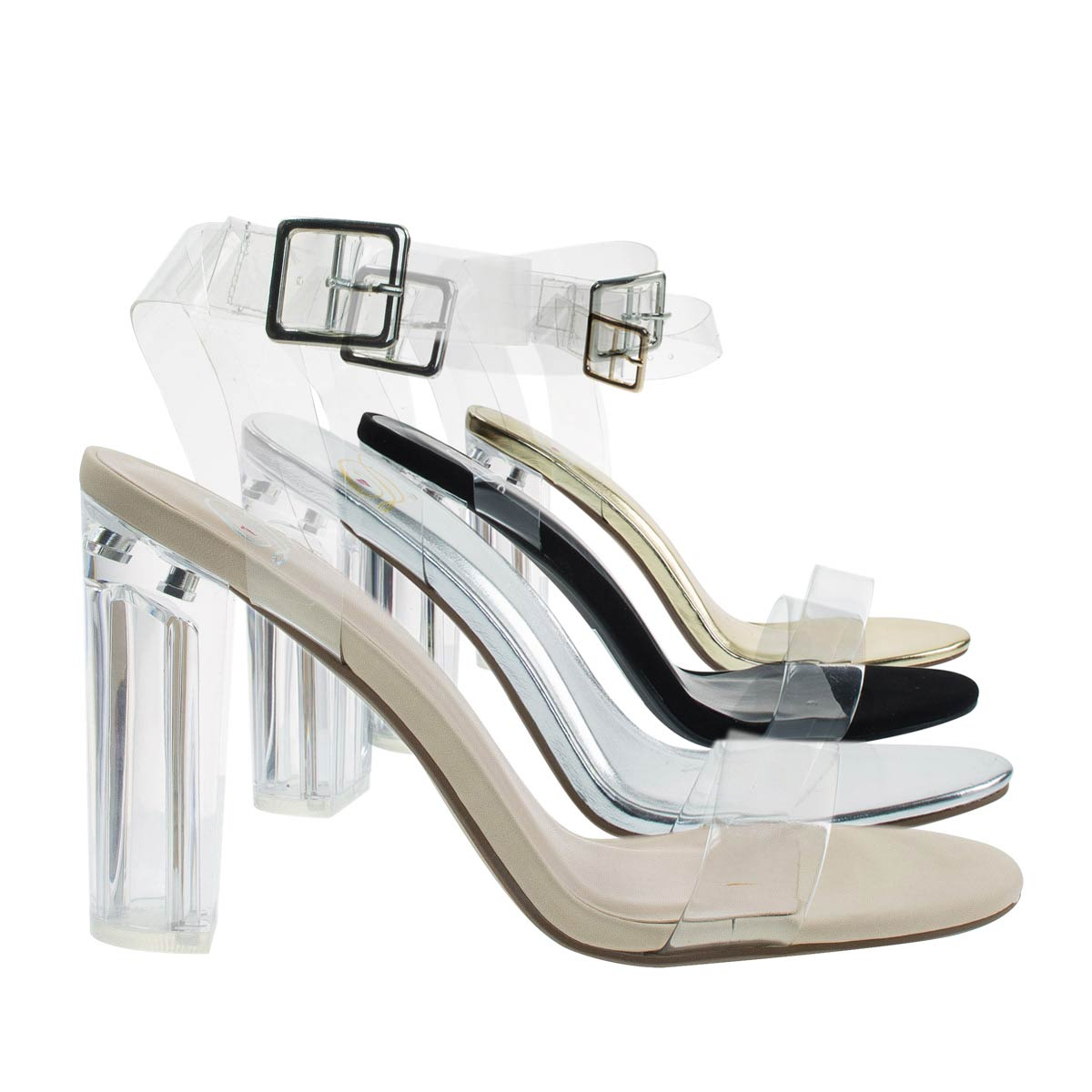 Kalif by Delicious, Women Dress Sandal Perspex Clear Block Heel, See Through Lucite Straps