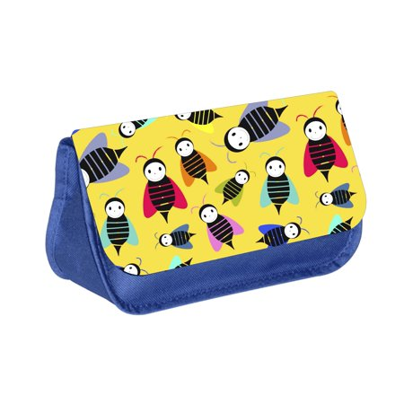 Bumble Bees - Girls / Boys Blue Pencil Case - Pencil Bag - with 2 Zippered Pockets and Nylon Lining