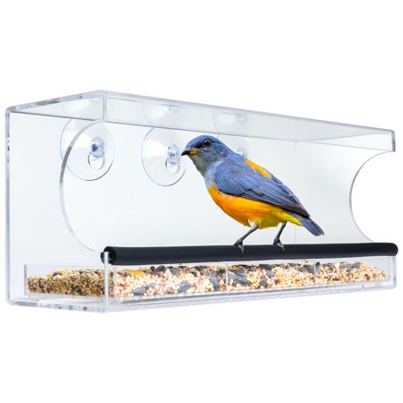 Window Alert Bird - Best Choice Products Extra Wide Acrylic Window Bird Feeder w/ Padded Perch, Drain Holes, & Removable Tray - Clear