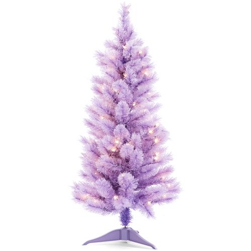 holiday time pre lit 35 cashmere artificial christmas tree purple clear lights walmartcom - Small Purple Christmas Tree