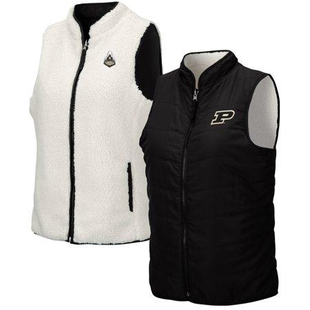 Purdue Boilermakers Colosseum Women's Reversible Sherpa Full-Zip Vest - Black/White Sherpa Reversible Jacket