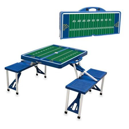 Picnic Time 811-00-139-835-0 West Virginia University Mountaineers Digital Print Portable Folding Picnic Table with Four Seats, Blue - image 1 de 1
