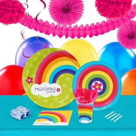 Rainbow Wishes 16-Guest Tableware and Decoration Kit](Rainbow Decorations Ideas)