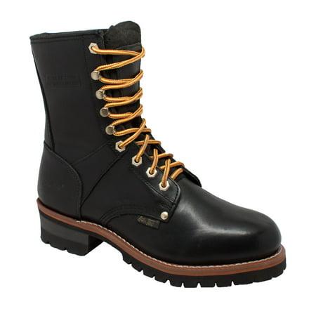 AdTec  Men's Black Oiled Leather Logger -