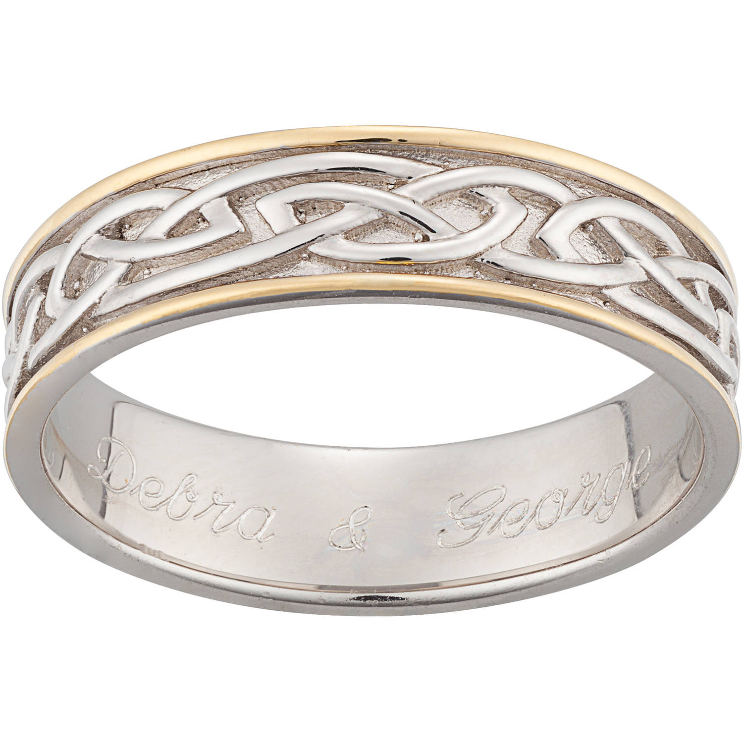 Personalized Sterling Silver Two Tone Engraved Celtic 6.5mm Wedding Band