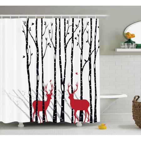 Antlers Decor Shower Curtain Set Deer Tree Forest Backdrop With Red