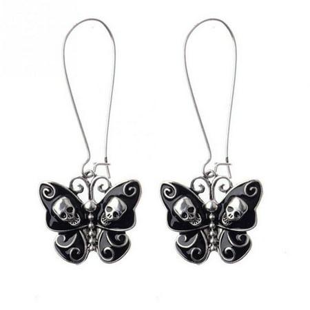 Black Butterfly Skull Earrings Drop Dangle Suger skull Earring Tarnish Resistant Gothic, J-17 (Black Butterfly Earrings)