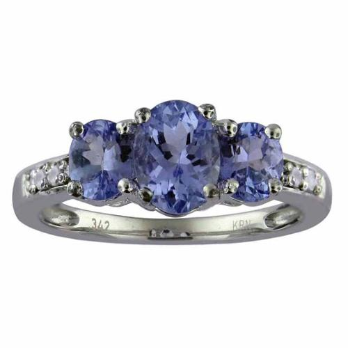 Divina 10k White Gold 1 1 2ct TDW 3-stone Diamond and Tanzanite Ring (G-H, I1-I2) by Overstock