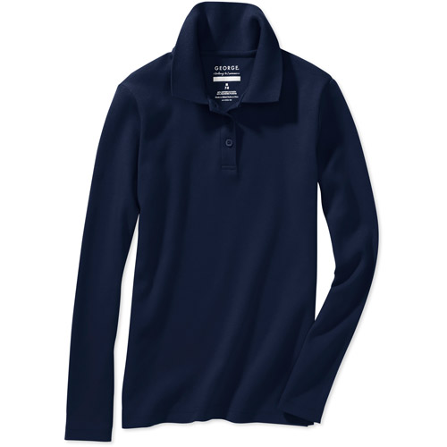 George School Uniform Girls Long Sleeve Polo With Scotchgard Stain