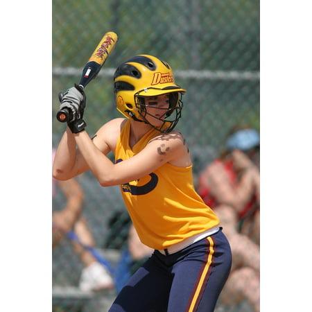 Framed Art for Your Wall Softball Teen Female Batter Game Bat Competition  10x13 Frame