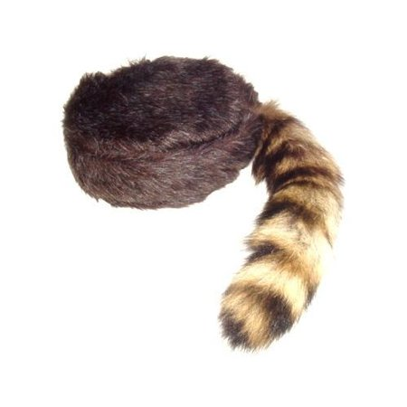 Davy Crockett or Daniel Boon Style Coon Skin Hat with Fake Tail Size Large - Coon Hat