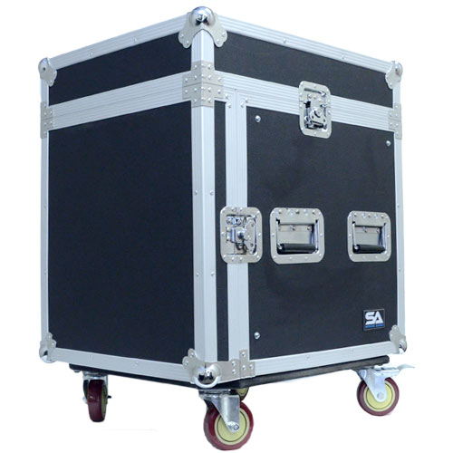Seismic Audio 10 Space Rack Case with Slant Mixer Top and Casters - Amp Effect PA/DJ Pro Audio - SAMRC-10U