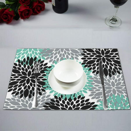 MKHERT Antique Dahlia Pinnata Flower Teal Grey Black Placemats Table Mats for Dining Room Kitchen Table Decoration 12x18 inch,Set of 4 ()