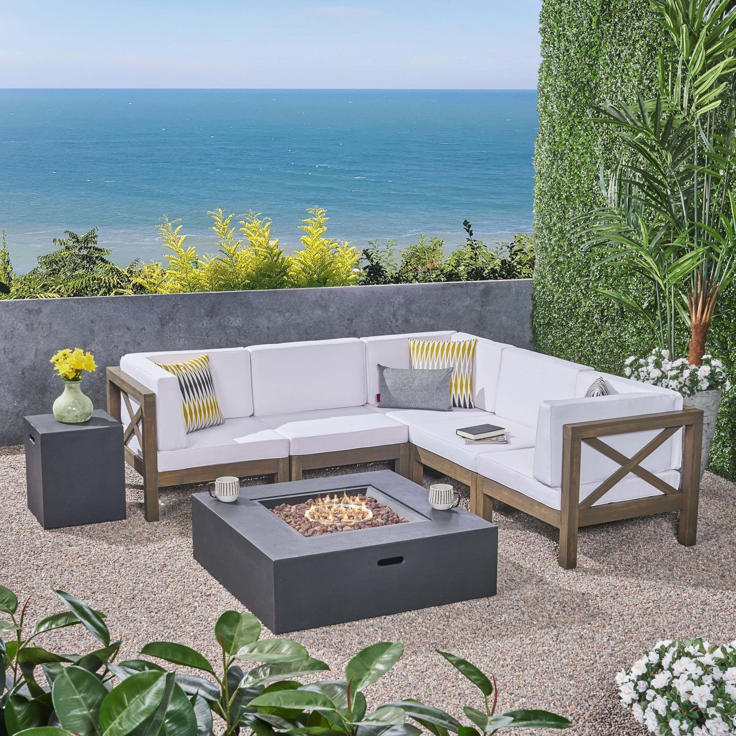 Wood Sectional Patio Furniture.Brava Outdoor 7 Piece Acacia Wood Sectional Sofa Set With Fire Pit