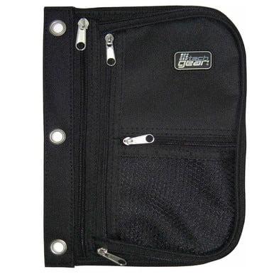 Tech Gear 3 Pocket Expandable 3-Ring Binder Pouch BLACK Organizer School Supplies WLM8 10898