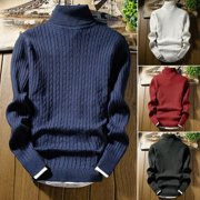 Fashion Men Winter Slim Turtleneck Nice Sweater Round-Neck Warm Jumper Pullover