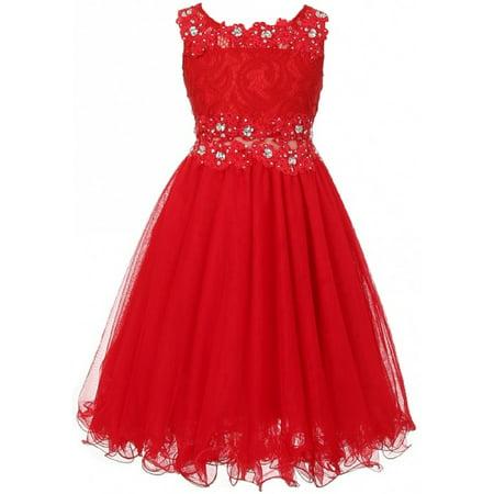 Embroidered Design Rhinestone Princess Little Flower Girls Dresses Red 4 Size