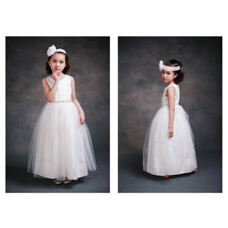Efavormart Gorgeous Snow White Flower Girl Dress Birthday Girl Dress Junior Flower Girl Wedding Party Gown Girls Dress For Wedding - Snow Coming Dresses