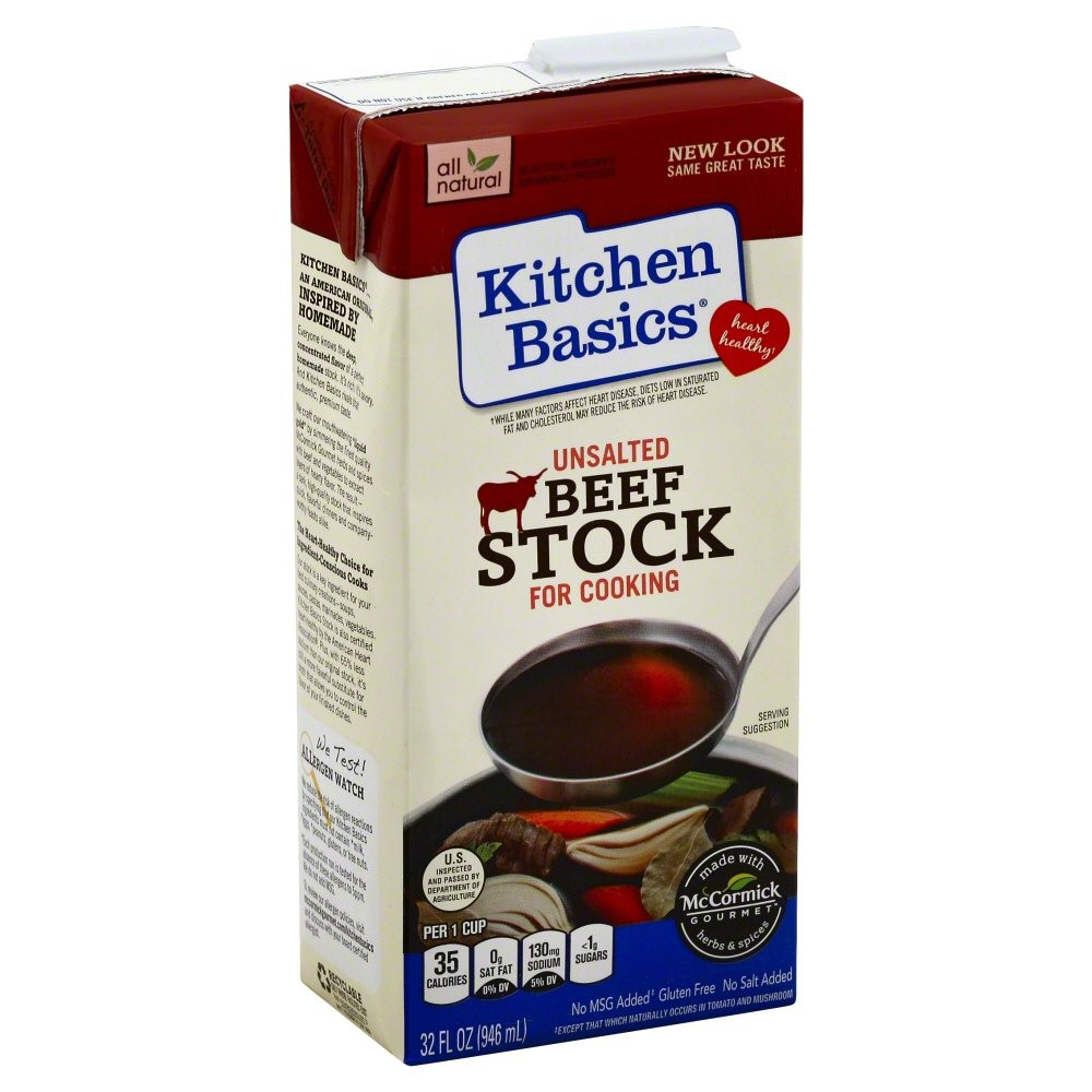Kitchen Basics Gluten Free Beef Stock, Unsalted, 32 Oz
