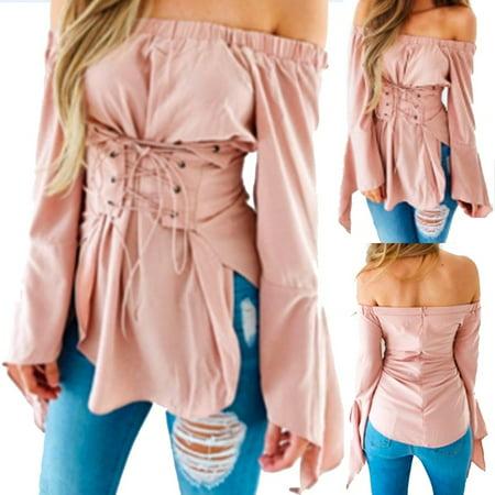Women's Elegant Off Shoulder Top Autumn Pink Long Sleeve - Elegance Tunic