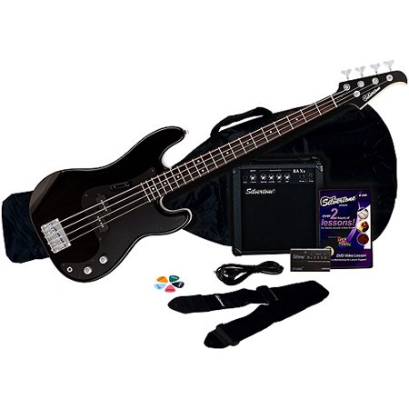 Silvertone Revolver Bass Guitar Package with Instructional DVD, Liquid Black