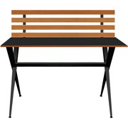 Your Zone Modern Desk with Wood Slab, Multiple Colors