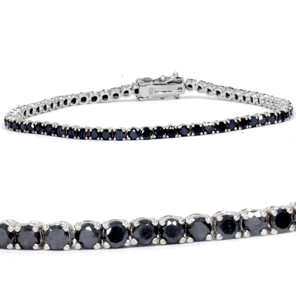 "3ct Treated Black Diamond Tennis Bracelet 14K White Gold 7"" by Pompeii3"