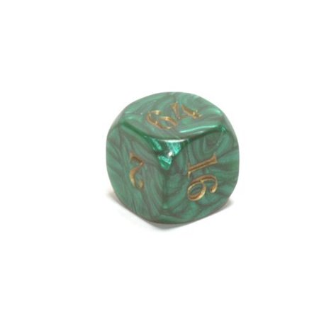 Backgammon Doubling Cube (22mm (7/8) Backgammon Doubling Cube, Green with Gold by Koplow Games)