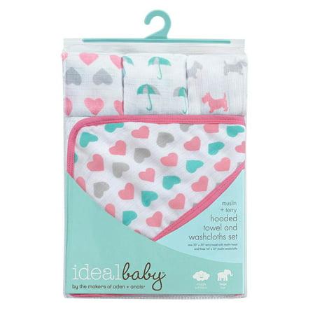 Muslin Washcloth Set (Ideal Baby Muslin + Terry Hooded Towel and Washcloths Set)