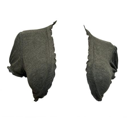 eVogues Plus size Ruffled Trim Open Front Cropped Bolero Shrug Gray