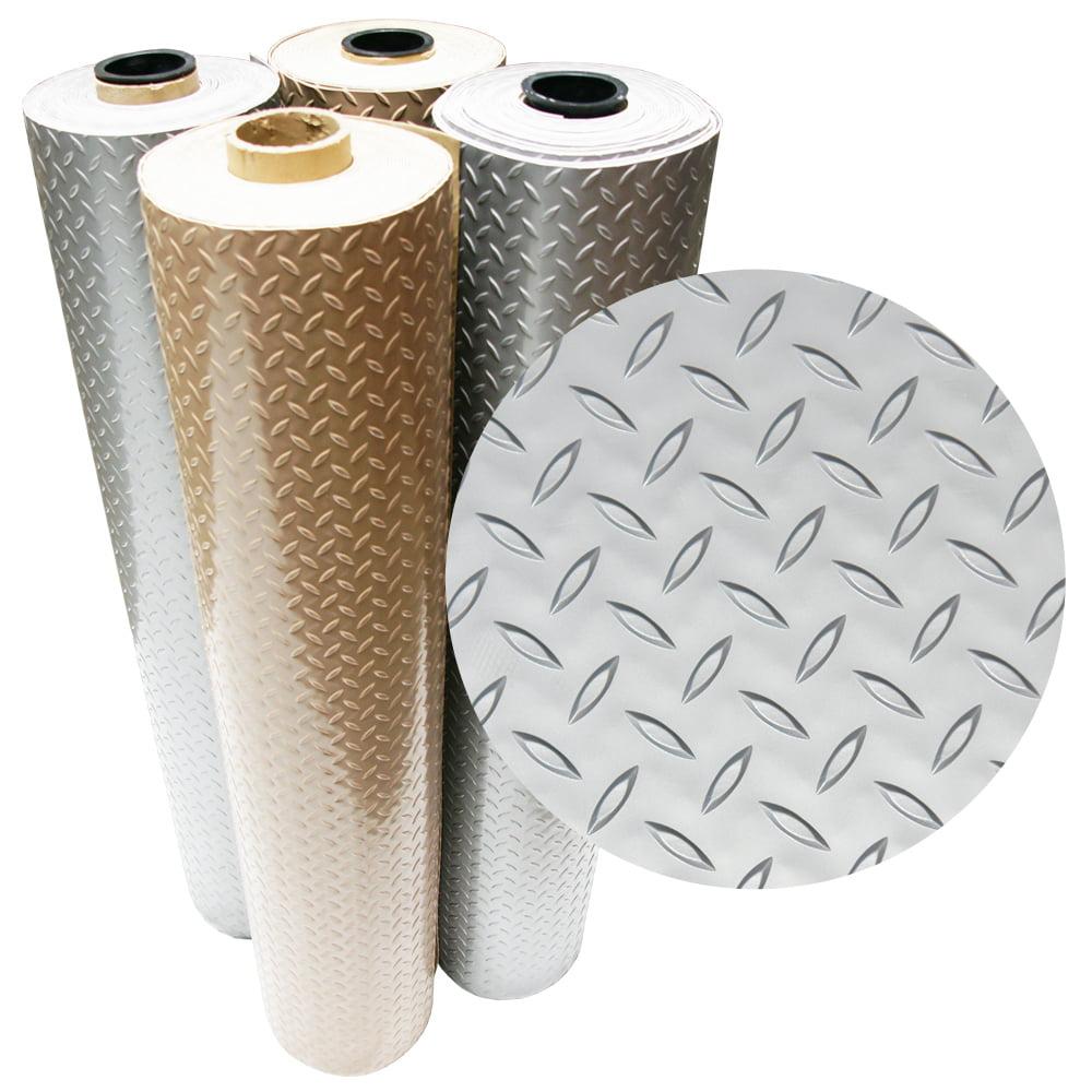 "Rubber-Cal ""Diamond-Plate Metallic"" PVC Flooring - 2.5 mm x 4 ft x 4 ft -Beige"