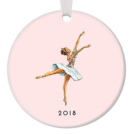 "Nutcracker Ballerina Ornament 2018, Vintage Sugarplum Fairy Ballet Porcelain Ornament, 3"" Flat Circle Christmas Ornament with Glossy Glaze, Gold Ribbon & Free Gift Box | OR00031 Emma"