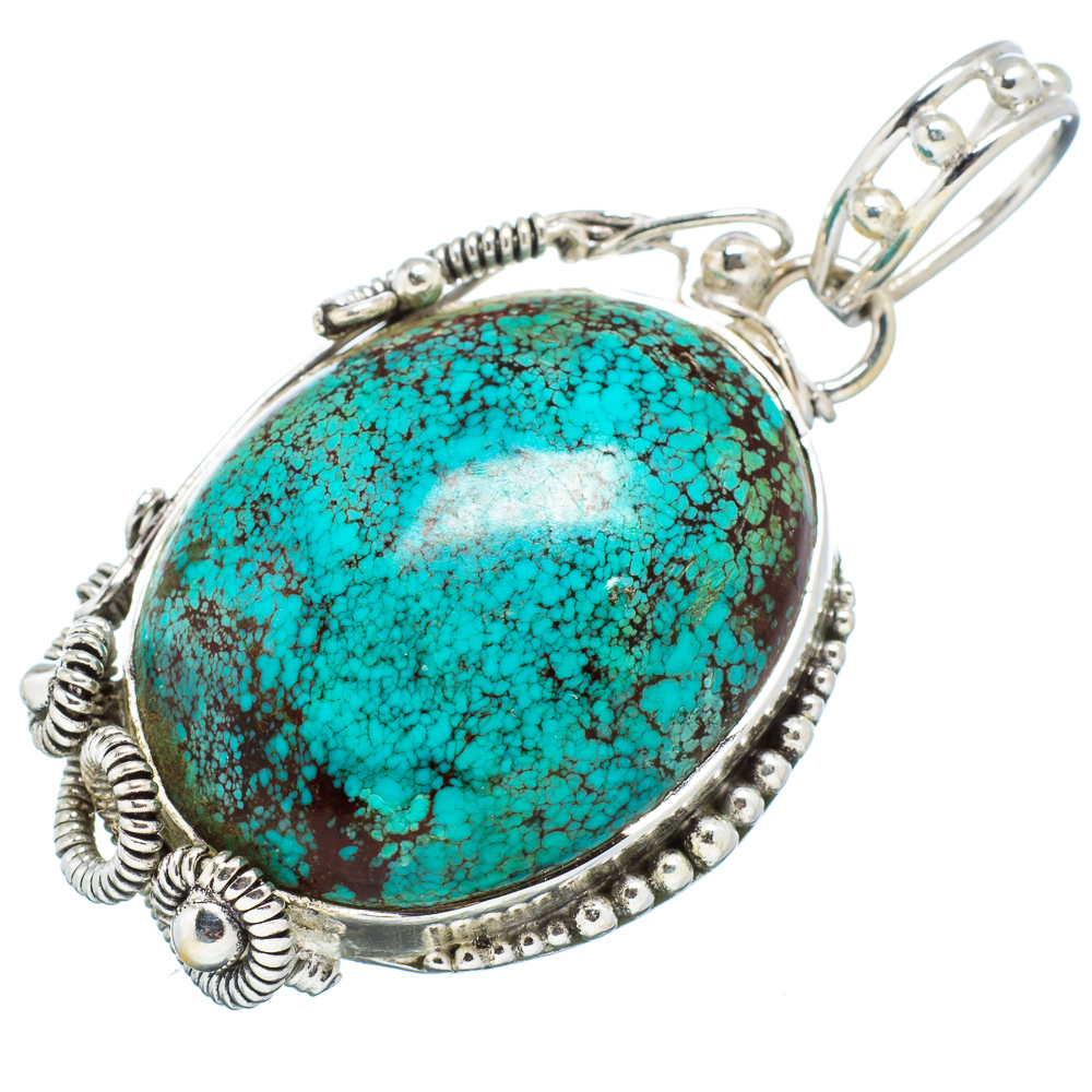 """Ana Silver Co Tibetan Turquoise Pendant 2"""" (925 Sterling Silver) - Handmade Jewelry PD611124"""