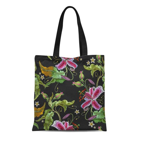 ASHLEIGH Canvas Tote Bag Purple Orchid Exotic Tropical Flowers Beautiful Classical Summer Embroideries Durable Reusable Shopping Shoulder Grocery -