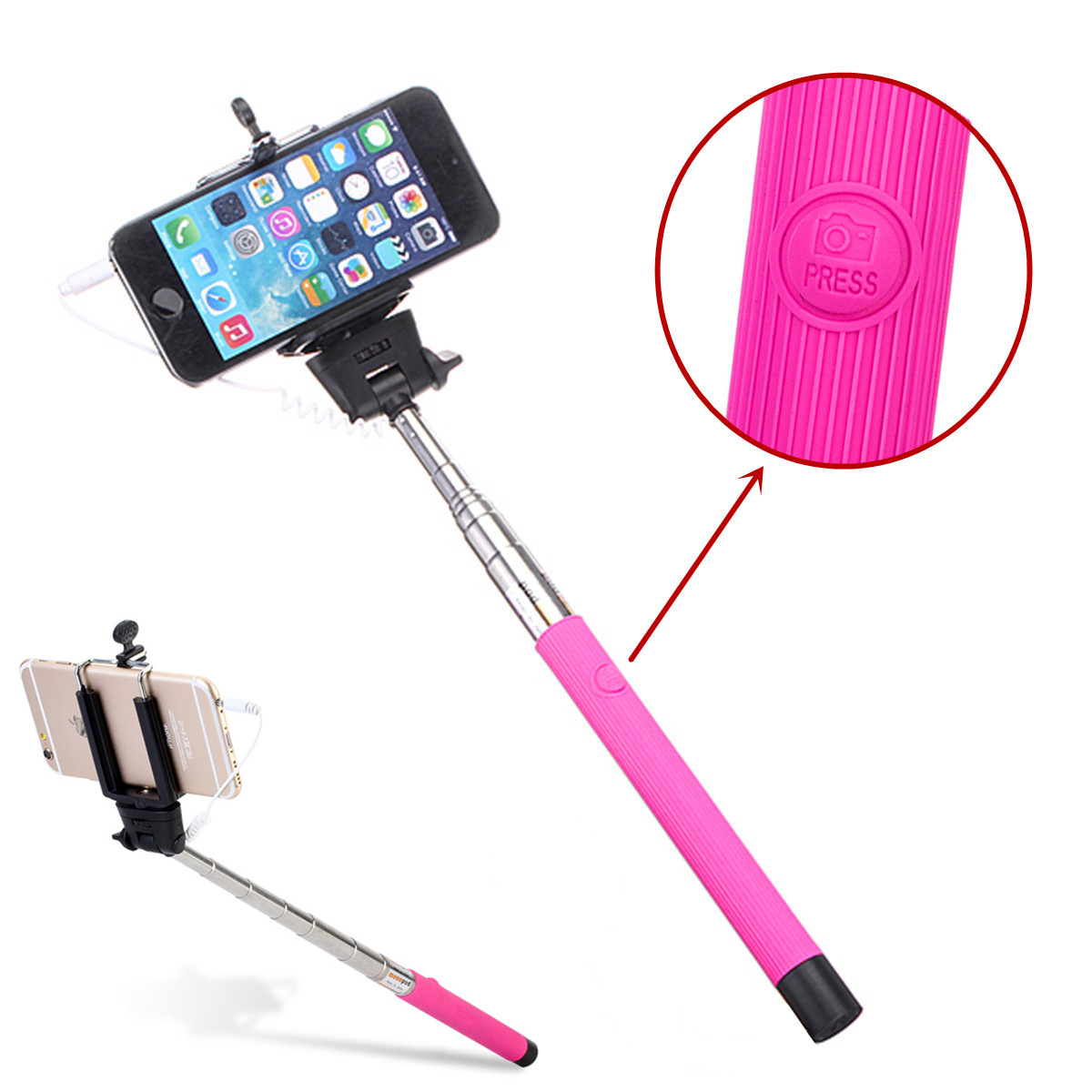 Extendable Wired Selfie Monopod Stick with Button Remote Phone Holder for Cellphone