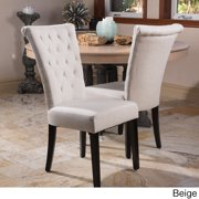 Contemporary Tufted Dining Chair in Beige - Set of 2