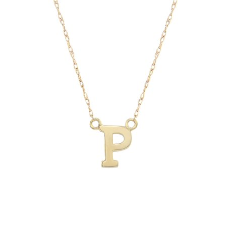 14K Yellow Gold Classic Alphabet Initial Pendant Necklace, A-Z Jewelry Initial Letter